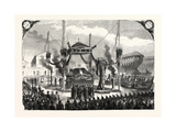 Receiving Remains of Admiral Bruat on the Port of Toulon, France, 1855. Giclee Print
