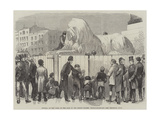 Putting Up the Lions at the Base of the Nelson Column, Trafalgar-Square Giclee Print