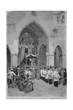 Procession of St Januarius in Naples, from Life Drawing by Matania, Italy, 20th Century Giclee Print