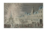 Fireworks in Front of Town Hall to Celebrate Peace in 1763, Paris, France, 18th Century Giclee Print