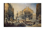 Feast of St Rosalia in Palermo, Watercolor by Pasquale Mattei (1813-1897) Giclee Print