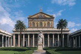 Statue in Front of a Church, Basilica of St Paul Outside the Walls, Rome, Lazio, Italy Giclee Print