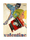 An Olivetti 'Valentine' Typewriter Promotional Poster, C.1969 (Colour Print, Wooden Frame) Giclee Print