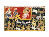 Brahma Offering Homage to Krishna as the Incarnation of Vishnu, C.1540-1575 Giclee Print