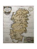 Map of Sardinia with City Map for Cagliari in Bottom Right Corner, Italy Giclee Print
