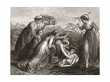 The Infant Moses Is Found in the Bulrushes on the River Bank by the Pharaoh's Daughter. from a 19th Giclee Print