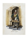 Pizza Seller, 1825, by Gaetano Dura (1805-1878), Lithograph, Italy, 19th Century Giclee Print
