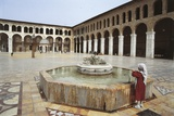 Rear View of a Woman Standing Near a Fountain in a Mosque, Umayyad Mosque, Damascus, Syria Photographic Print