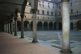 Inner Courtyard and Arcades of the Sforza Castle, 15th Century, Milan, Lombardy, Italy Photographic Print