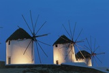 Three Traditional Windmills Lit Up at Night, Kato Myli, Mykonos, Cyclades Islands, Greece Photographic Print