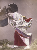 Wind Costume - a Young Japanese Girl in the Rain, C.1890 (Hand Coloured Photograph) Giclee Print