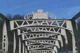 The Mozart-Steg Iron Sign on Footbridge over the Salzach River, Salzburg, Austria Photographic Print