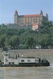 Barge on a River, Danube River, Bratislava Castle, Bratislava, Slovakia Photographic Print