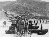 Benito Mussolini Crossing a Pontoon Bridge, During a Visit to the Front in Albania, 1940 Photographic Print