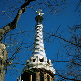 Spain. Barcelona. Guell Park. Pinnacle of House of Doorman. by Antoni Gaudi (1852-1926) Photographic Print