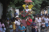 Girl on Flower-Covered Float, Holy Week Procession, Nahuizalco, El Salvador Photographic Print