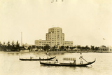 Gondolas, Piloted by African American Gondoliers, Glide by the Flamingo Hotel, March 20, 1921 Photographic Print