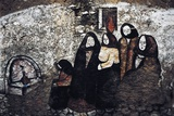 Mural Depicting Women in Traditional Costume, Mural in Orgosolo, Sardinia, Italy Photographic Print
