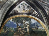 Adam and Eve, Fresco by Unknown 16th-Century Artist, Lunette from Hall of Creation, Besta Palace in Giclee Print