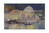 Art Palace at Night Lámina giclée