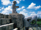 Pre-Columbian Art. Maya. Chac Statue (Rain God) or an Offeror on a Feathered Serpent. Temple of the Photographic Print