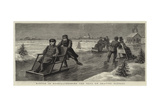 Winter in Russia, Crossing the Neva on Skating Sledges Giclee Print