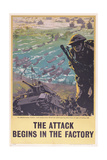 The Attack Begins in the Factory, WWII Poster, 1943 Giclee Print