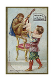 Boy and Monkey Playing Musical Instruments Together Giclee Print
