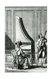 Musicians Playing an Upright Clavicord and a Bassoon Giclee Print