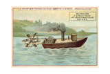 Denis Papin's First Steam Powered Boat, 18th Century Giclee Print