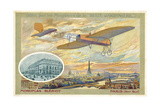 Bleriot Monoplane and a View of Paris Showing the Pont Neuf Giclee Print