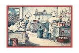 Cooks Working in a Kitchen Lámina giclée