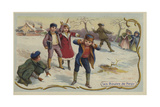 Playing Snowballs Giclee Print