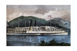 Boat on Hudson River, United States, 19th Century Giclee Print