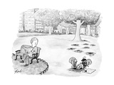 A man sitting in the park notices pirate squirrels digging for treasure.  - New Yorker Cartoon Premium Giclee Print by Tom Toro