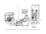 """After a hard day at the office, all Barry wants to do is put his feet up ..."" - New Yorker Cartoon Premium Giclee Print by David Sipress"
