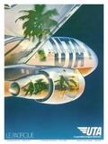 Le Pacifique (The Pacific) - Palm Trees Reflected on Plane - UTA (Union des Transports Aériens) Print