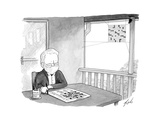 Man works on crossword puzzle as a spider builds a web that looks like a c… - Cartoon Premium Giclee Print by Tom Toro