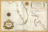 Spanish Map of Florida and the Bahamas, 1805 Giclee Print
