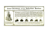 Hunting Hats Austria 1891 Giclee Print