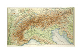 Old Map of the Alps Giclee Print