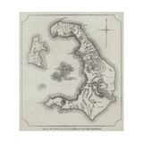 Map of the Island and Bay of Santorin, in the Greek Archipelago Giclee Print