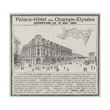 Advertisement, Palace-Hotel Des Champs-Elysees Giclee Print