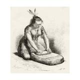A Native Guayan Woman Crushing Grain Giclee Print
