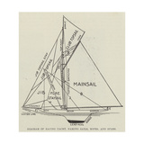 Diagram of Racing Yacht, Naming Sails, Ropes, and Spars Giclee Print