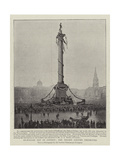 Trafalgar Day in London, the Nelson Column Decorated Giclee Print
