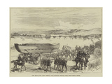 The Zulu War, New Trestle and Pontoon Bridge over the Tugela River Giclée-tryk
