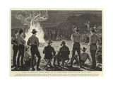 Lord Randolph Churchill at a Camp-Fire Concert at Fort Tuli Wydruk giclee
