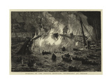 Burning of the French Ironclad Richelieu at Toulon Giclee Print