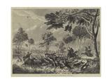 Sketches in Australia, Kangaroo Hunting Giclee Print